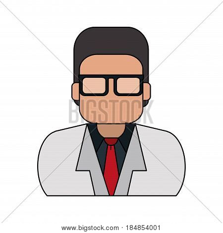colorful silhouette half body executive faceless man with glasses vector illustration