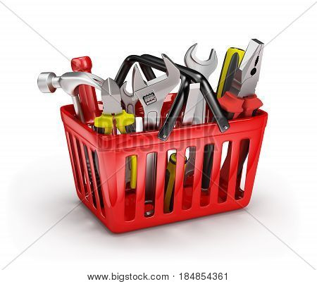 3d tool in a red basket. 3d image. White background.