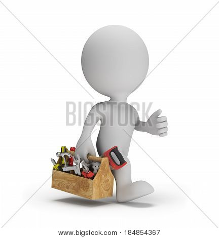 Repairman with the tool in a hurry to help. 3d image. White background.