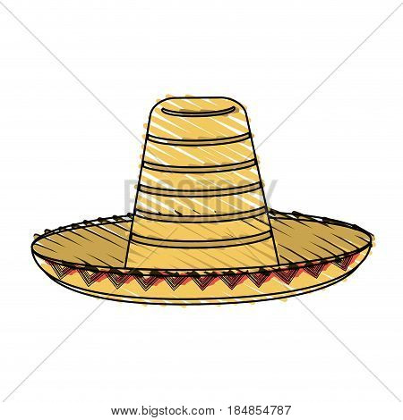 color crayon stripe mexican hat accesory costume vector illustration