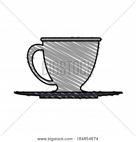 color crayon stripe gray dish porcelain with cup vector illustration