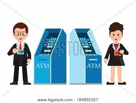 ATM machine money deposit and withdrawal or automated teller or cash machine clients Payment using credit card minibank used by people who using dollar cash or plastic credit cards for financial transactions at interbank network vector illustration.