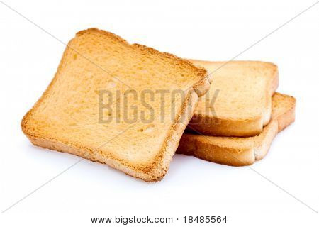 Three toasted bread slices for breakfast isolated on white studio background.