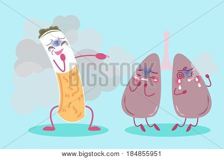 cute cartoon lung with health concept on blue background