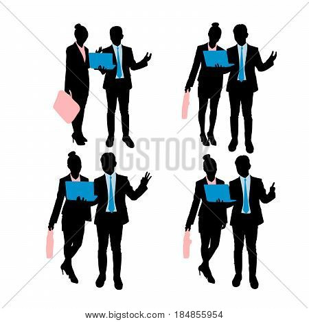 silhouette of businesspeople do different gesture on white background