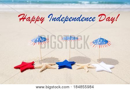 Happy 4th of July USA Independence day background with stars and starfishes