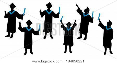 silhouette of graduation student show different gesture on white background