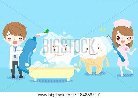 cute cartoon dentist brush tooth on blue background