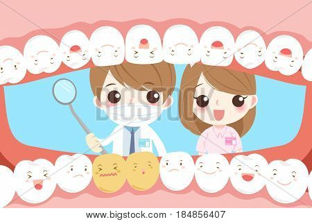 cute cartoon dentist with tooth health concept