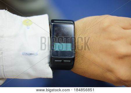 Smart watch blank screen mock up wear on the hand. Smartwatch design presentation empty display template.