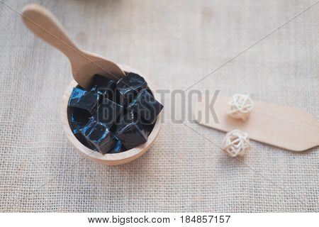 Grass jelly (Mesona chinensis) vegetable jelly eaten with sugar