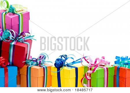 Colorful gifts box isolated on white studio background