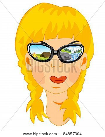 Person of the girl bespectacled reflecting nature