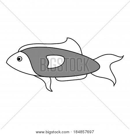 sketch color silhouette fish aquatic animal vector illustration