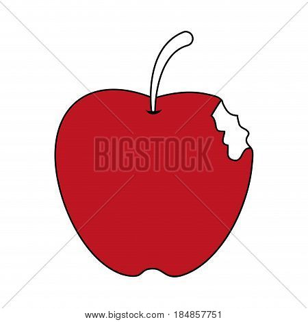 sketch color silhouette bitten apple fruit vector illustration