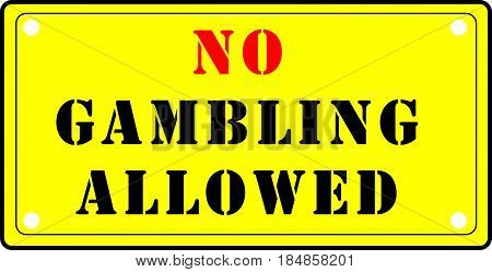 Prohibiting index for fans of gambling. No Gambling Allowed.