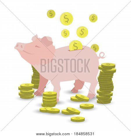 Pig Pink Money Coin With A Pile Of Gold Coins