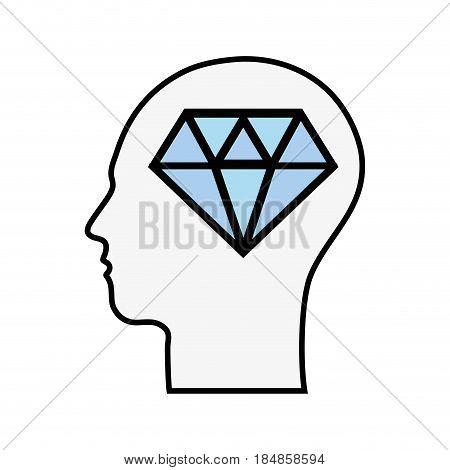 line silhouette head with diamond inside, vector illustration