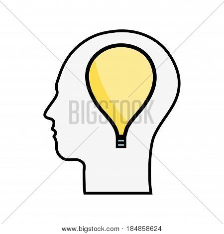 line silhouette head with bulb inside, vector illustration