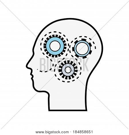 line silhouette gears with heart inside, vector illustration