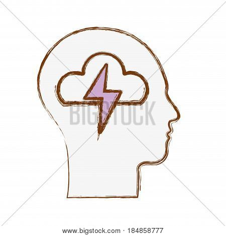 line silhouette head with cloud and ray inside, vector illustration