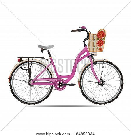 Vector illustration of city bicycle. Modern bike with basket for women flat style design element isolated on white background.