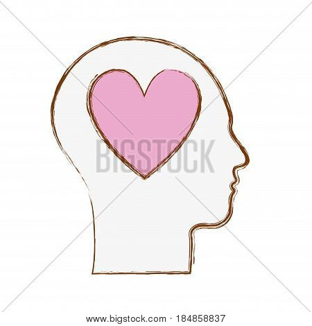 line silhouette head with heart inside, vector illustration