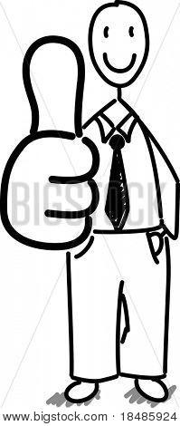 halten Sie Unternehmer holding einen Daumen, auf weißem Hintergrund