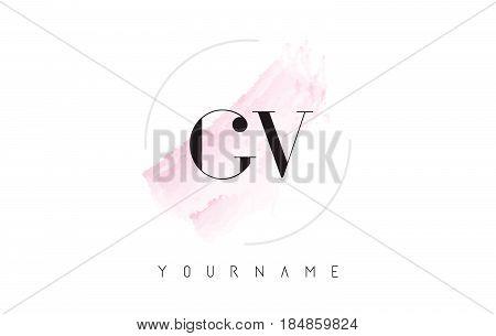 Gv G V Watercolor Letter Logo Design With Circular Brush Pattern.