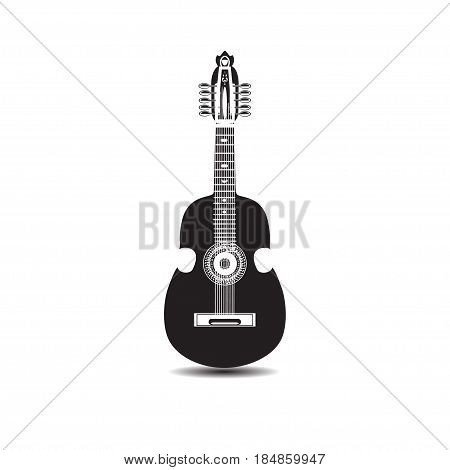 Vector illustration of cuatro isolated on white background. Latin American black and white guitar string musical instrument in flat style.