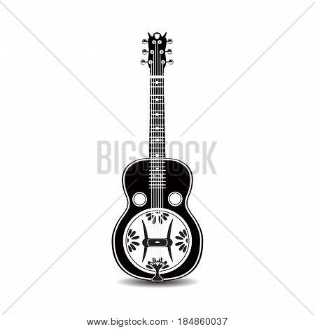 Vector illustration of resonator guitar isolated on a white background. Black and white resophonic guitar. Bluegrass and country music.