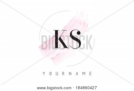 Ks K S Watercolor Letter Logo Design With Circular Brush Pattern.