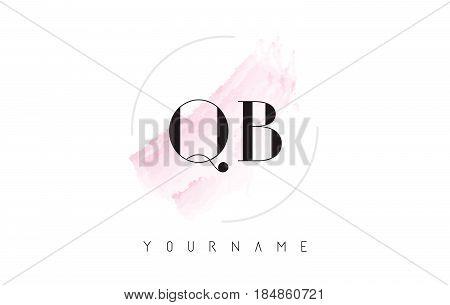 Qb Q B Watercolor Letter Logo Design With Circular Brush Pattern.