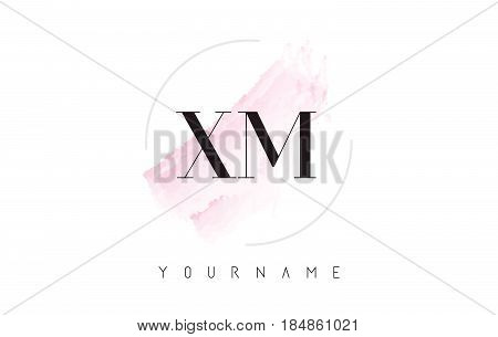 Xm X M Watercolor Letter Logo Design With Circular Brush Pattern.