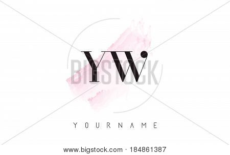 Yw Y W Watercolor Letter Logo Design With Circular Brush Pattern.