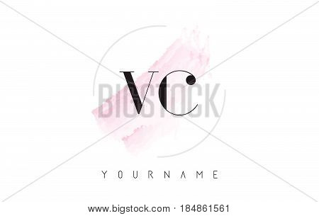 Vc V C Watercolor Letter Logo Design With Circular Brush Pattern.