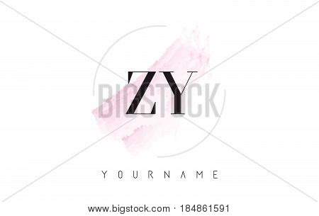 Zy Z Y Watercolor Letter Logo Design With Circular Brush Pattern.