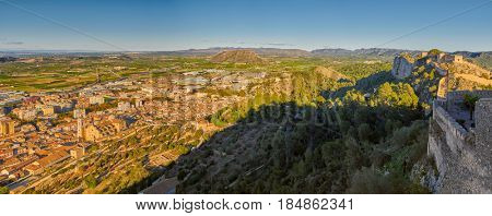 High Resolution Sunset Panorama of Xativa town and Castle in Valencia Province of Spain