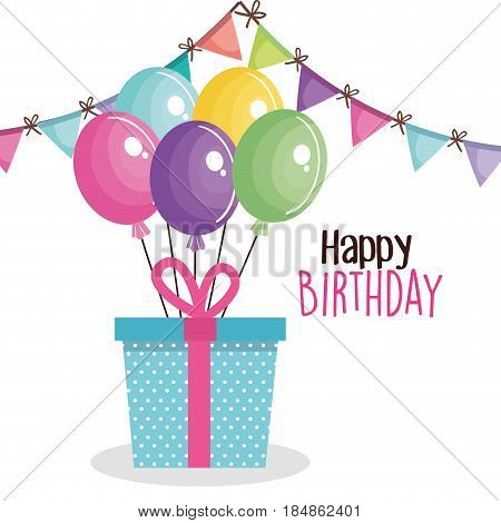 happy birthday card with giftbox vector illustration design