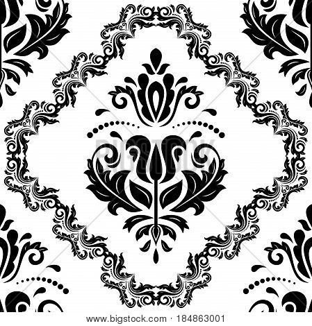 Seamless classic black and white pattern. Traditional orient ornament
