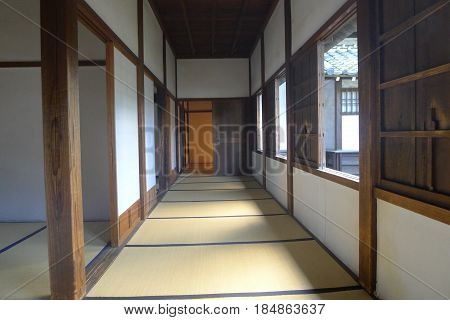 Japanese Style Tatami Matted Corridor in a House