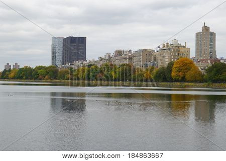 Trees and Buildings by NY Central Park Reservoir