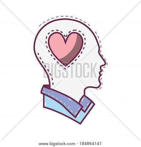 color silhouette head with heart inside, vector illustration