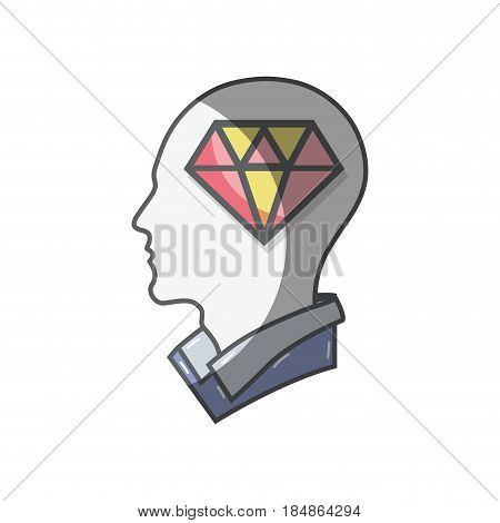 color silhouette head with diamond inside, vector illustration