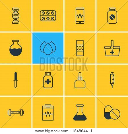 Vector Illustration Of 16 Health Icons. Editable Pack Of Pipette, Trickle, Vial And Other Elements.