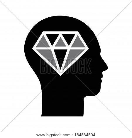 contour silhouette head with diamond inside, vector illustration