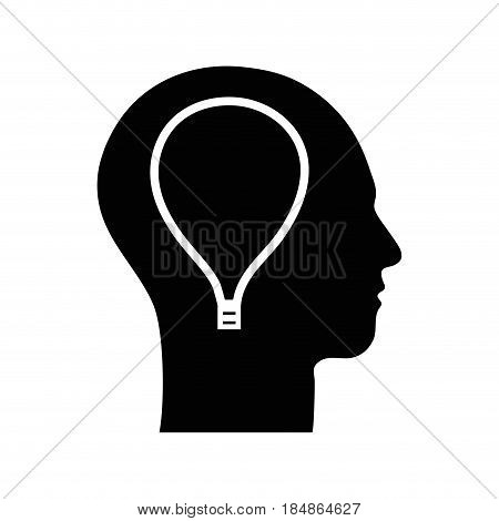 contour silhouette head with bulb inside, vector illustration