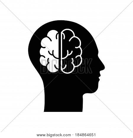 contour silhouette head with brain inside, vector illustration