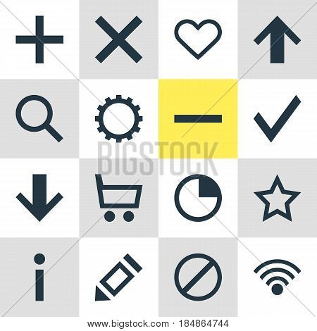 Vector Illustration Of 16 Interface Icons. Editable Pack Of Cordless Connection, Confirm, Access Denied And Other Elements.