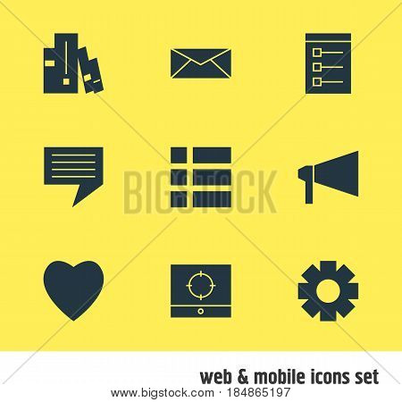 Vector Illustration Of 9 Internet Icons. Editable Pack Of Chat, Board, Bullhorn And Other Elements.